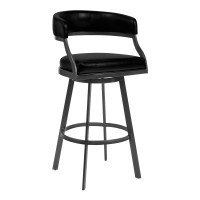 "Armen Living Saturn 26"" Counter Height Barstool in Mineral Finish and Vintage Black Faux Leather"