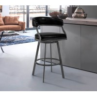 "Armen Living Saturn 30"" Bar Height Barstool in Mineral Finish and Vintage Black Faux Leather"