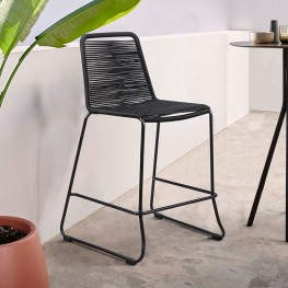 """Shasta 30"""" Outdoor Metal and Black Rope Stackable Barstool"""
