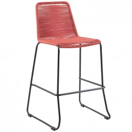 "Shasta 30"" Outdoor Metal and Brick Red Rope Stackable Barstool"