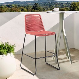 """Shasta 30"""" Outdoor Metal and Brick Red Rope Stackable Barstool"""