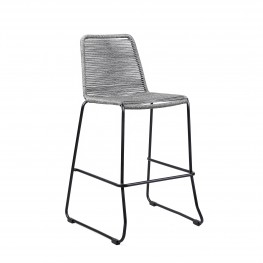 "Shasta 30"" Outdoor Metal and Grey Rope Stackable Barstool"