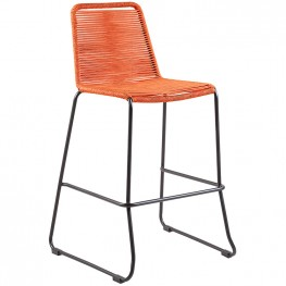 "Shasta 26"" Outdoor Metal and Tangerine Orange Rope Stackable Barstool"