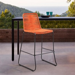 "Shasta 30"" Outdoor Metal and Tangerine Orange Rope Stackable Barstool"