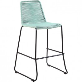 """Shasta 26"""" Outdoor Metal and Wasabi Rope Stackable Barstool"""