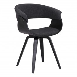 Summer Contemporary Dining Chair in Black Brush Wood Finish and Charcoal Fabric