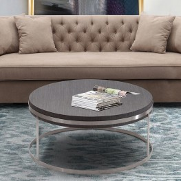 Armen Living Sunset Coffee Table in Brushed Stainless Steel finish with Grey Top