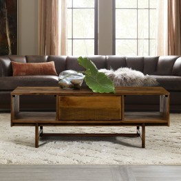 Superb Rustic Oak Coffee Table with Drawer