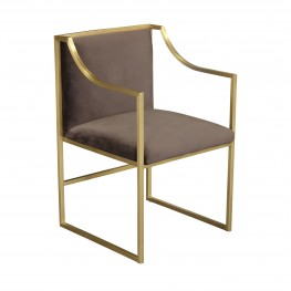 Seville Contemporary Dining Chair in Brushed Gold Finish and Brown Fabric