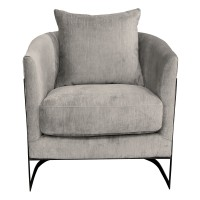 Armen Living Swan Contemporary Accent Chair with Black Iron Finish and Beige Fabric