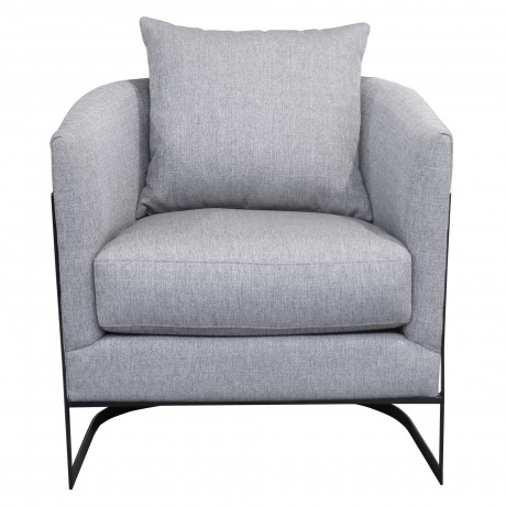Swan Contemporary Accent Chair with Black Iron Finish Grey Fabric