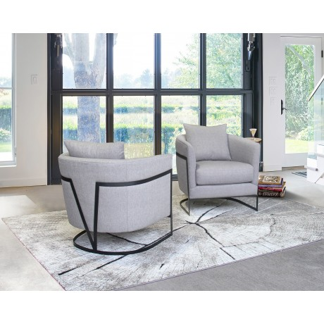 Armen Living Swan Contemporary Accent Chair with Black Iron Finish Grey Fabric