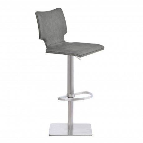 Sydney Barstool in Brushed Stainless Steel with Vintage Grey Faux Leather and Grey Walnut Wood Back