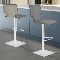 Armen Living Sydney Barstool in Brushed Stainless Steel with Vintage Grey Faux Leather and Grey Walnut Wood Back