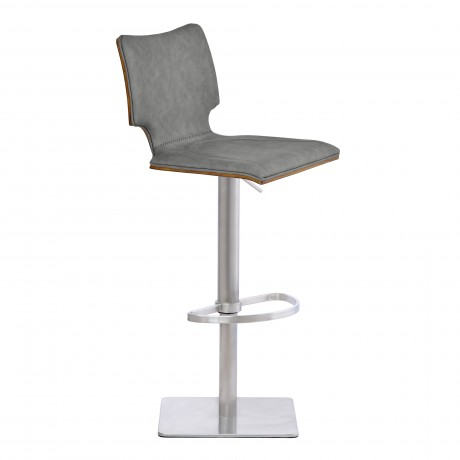 Sydney Barstool in Brushed Stainless Steel with Vintage Grey Faux Leather and Walnut Wood Back