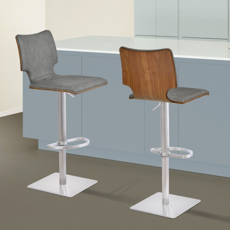 Armen Living Sydney Barstool in Brushed Stainless Steel with Vintage Grey Faux Leather and Walnut Wood Back
