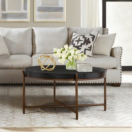Sylvie Brushed Oak and Metal Round Coffee Table