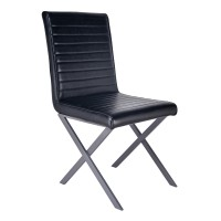 Armen Living Tempe Modern Dining Chair in Grey Powder Coated finish and Vintage Black Faux Leather - Set of 2