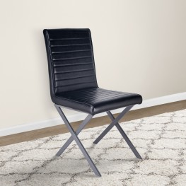 Tempe Modern Dining Chair in Grey Powder Coated finish and Vintage Black Faux Leather - Set of 2