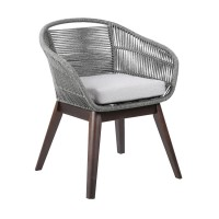 Tutti Frutti Indoor Outdoor Dining Chair in Dark Eucalyptus Wood with Latte Rope and Grey Cushions