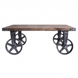 Trego Industrial Coffee Table in Industrial Grey and Pine Wood