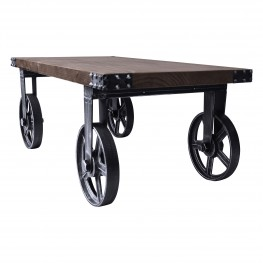 Armen Living Trego Industrial Coffee Table in Industrial Grey and Pine Wood