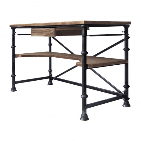 Theo Industrial Desk in Industrial Grey and Pine Wood