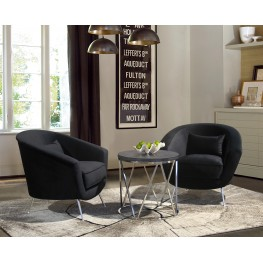 Armen Living Tulare Contemporary Accent Chair in Brushed Stainless Steel Finish with Black Fabric