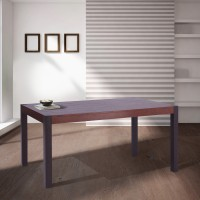 Tatum Contemporary Dining Table in Auburn Bay Finish and Sedona Wood Top