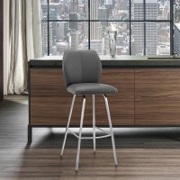 """Tandy Grey Faux Leather and Brushed Stainless Steel 26"""" Counter Stool"""