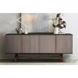Turin Rustic Oak Wood Sideboard Cabinet with Copper Accent