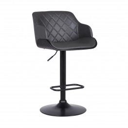Toby Contemporary Adjustable Barstool in Black Powder Coated Finish with Grey Faux Leather and Black Brushed Wood Finish