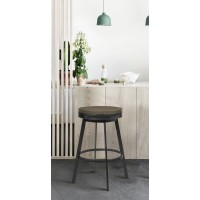"Armen Living Topeka 26"" Counter Height Stool in Mineral Finish and Grey Walnut Wood Seat"