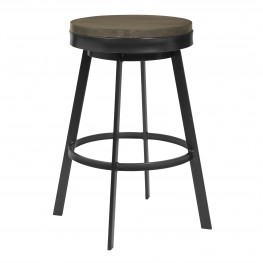 "Topeka 30"" Bar Height Stool in Mineral Finish and Grey Walnut Wood Seat"