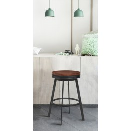 "Topeka 26"" Counter Height Stool in Mineral Finish and  Walnut Wood Seat"