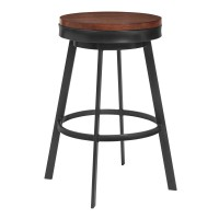 "Topeka 30"" Bar Height Stool in Mineral Finish and Walnut Wood Seat"