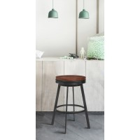 "Armen Living Topeka 30"" Bar Height Stool in Mineral Finish and Walnut Wood Seat"