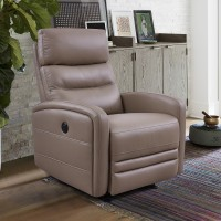 Tristan Contemporary Greige Top Grain Leather Power Recliner Chair with USB