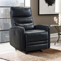 Tristan Contemporary Pewter Top Grain Leather Power Recliner Chair with USB