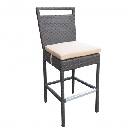 Tropez Outdoor Patio Wicker Barstool with Water Resistant Beige Fabric Cushions
