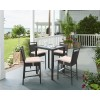 Armen Living Tropez Outdoor Patio Wicker Barstool with Water Resistant Beige Fabric Cushions