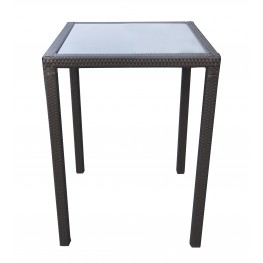 Tropez Outdoor Patio Wicker Bar Table with Black Glass Top