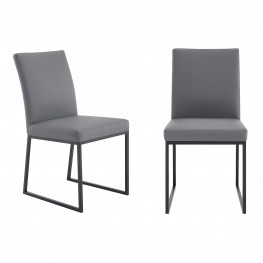 Trevor Contemporary Dining Chair in Matte Black Finish and Grey Faux Leather - Set of 2