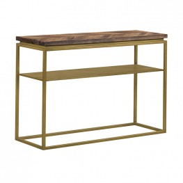 Faye Rustic Brown Wood Console Table with Shelf and Antique Brass Metal Base