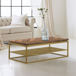 Faye Rustic Brown Wood Coffee Table with Shelf and Antique Brass Metal Base