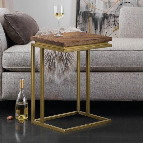 Faye Rustic Brown Wood C-Shape End table with Antique Brass Base