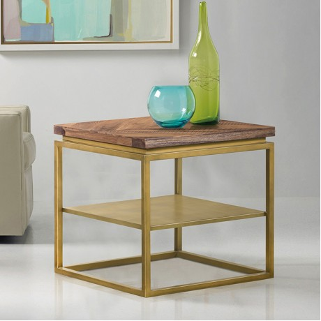 Faye Rustic Brown Wood Side table with Shelf and Antique Brass Base