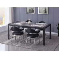 Tessa Contemporary Dining Table in Matte Black Finish and Gray Walnut Top