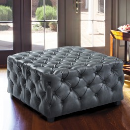 Taurus Contemporary Ottoman in Grey Faux Leather with Wood Legs