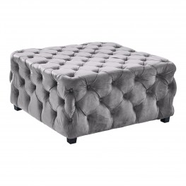 Taurus Contemporary Ottoman in Grey Velvet with Wood Legs